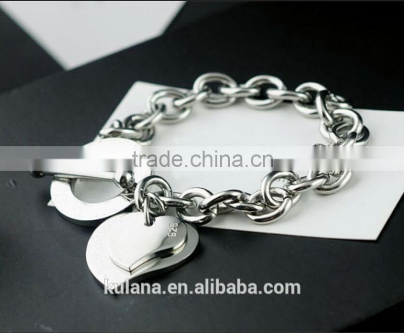 Wholesale stainless steel stretch charm bracelet Love heart Bracelet with T clasp 9310