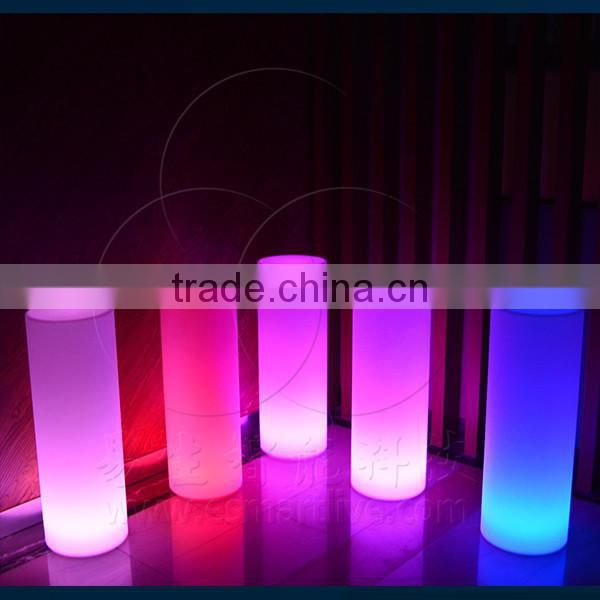 color change led cylinder light stools/light up bar table/led cylinder light bar table