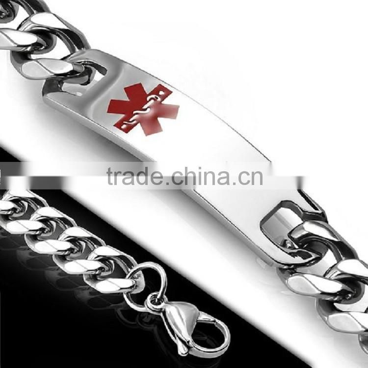 Wholesale curb chain Band curved Plaque stainless steel medical alert id bracelet