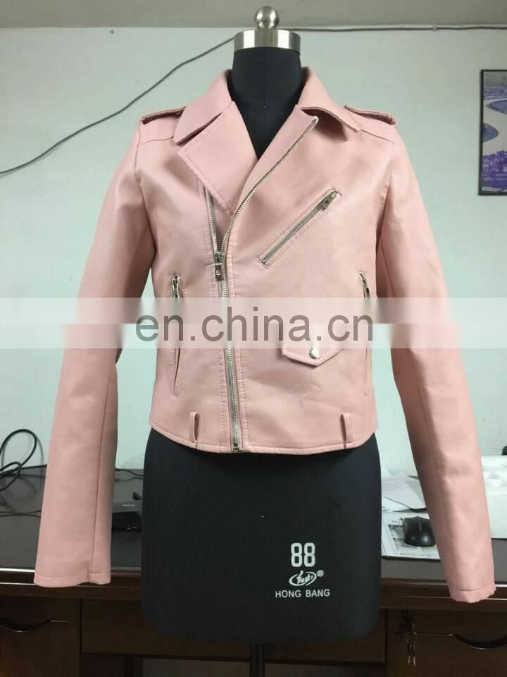 New Women Fashion Biker Motorcycle PU Soft Leather Zipper Jacket PU Coat Faux Leather Jacket Winter Jacket in Pink color