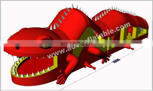 New design inflatable red lizard obstacle course