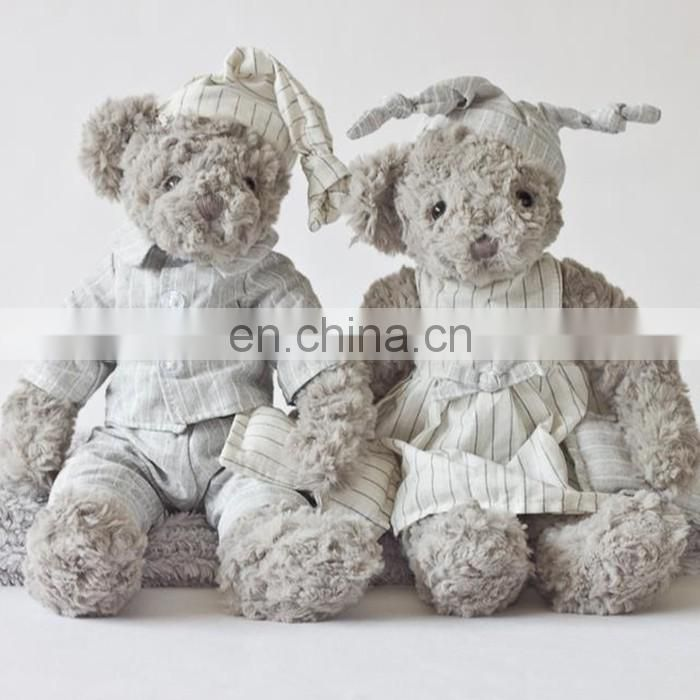 light grey pajamas changeable clothes lover Teddy bear doll plush animal toy
