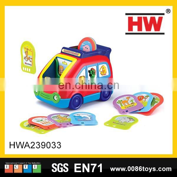 Hot selling plastic cartoon tambourine baby toy shaking rattle(4pcs)