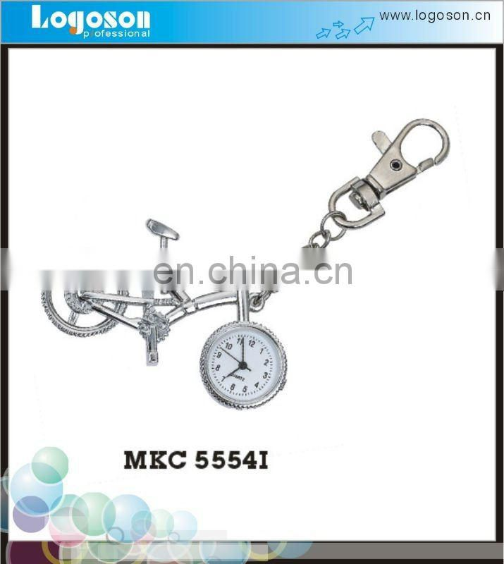 Special design bicycle metal key chain with clock