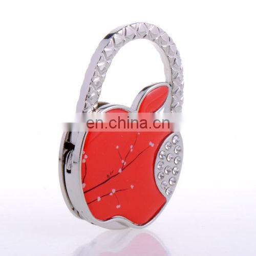 Apple shaped diamond foldable bag holder/purse hanger