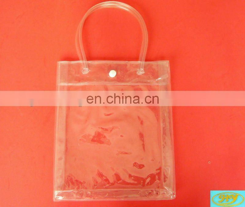 transparent clear vinyl pvc zipper bags with handles gift