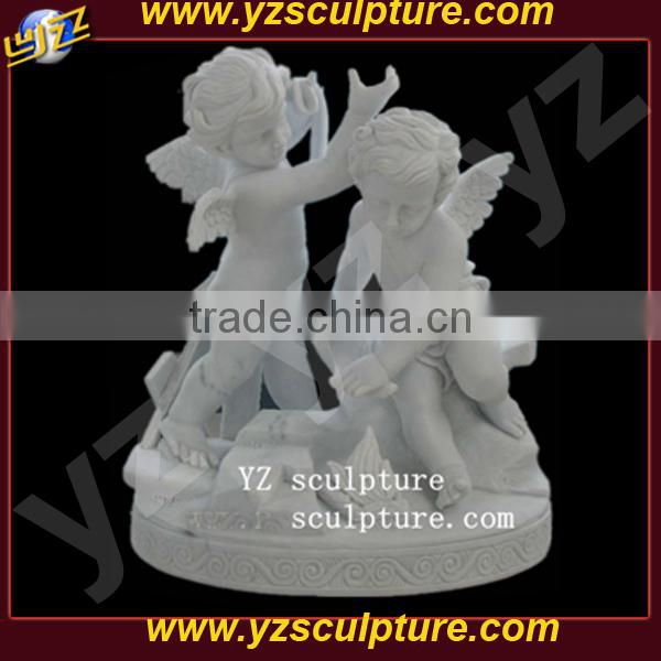 White Marble two Angel Garden Sculpture outdoor decoration