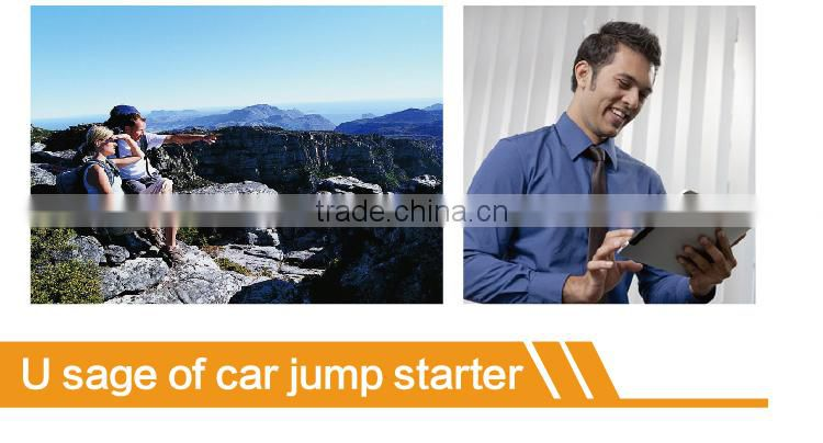 mini car jump starter 8000mAh with LED light and charge for laptop cellphone