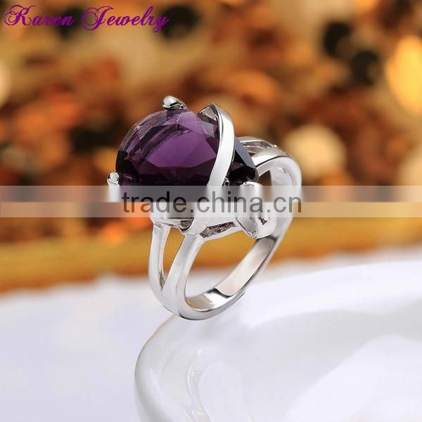 Elegant Heart Amethyst Purple Zircon Crystal Ring Party Engagement Exaggerated Wedding Rings for Women Platinum Plated