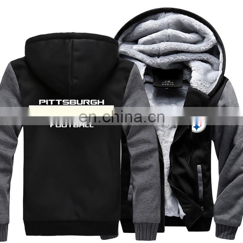 Steelers Football Game Team Winter Mens Jacket Sweatshirts Thicken Fleece Hoodie Zipper Coat
