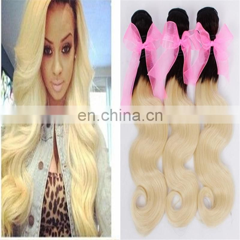 Two tone color color 1b#/613# human hair weaving brazilian remy hair extensions body wave