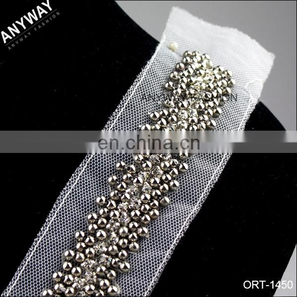 Fancy bead rhinestone trimming for dress