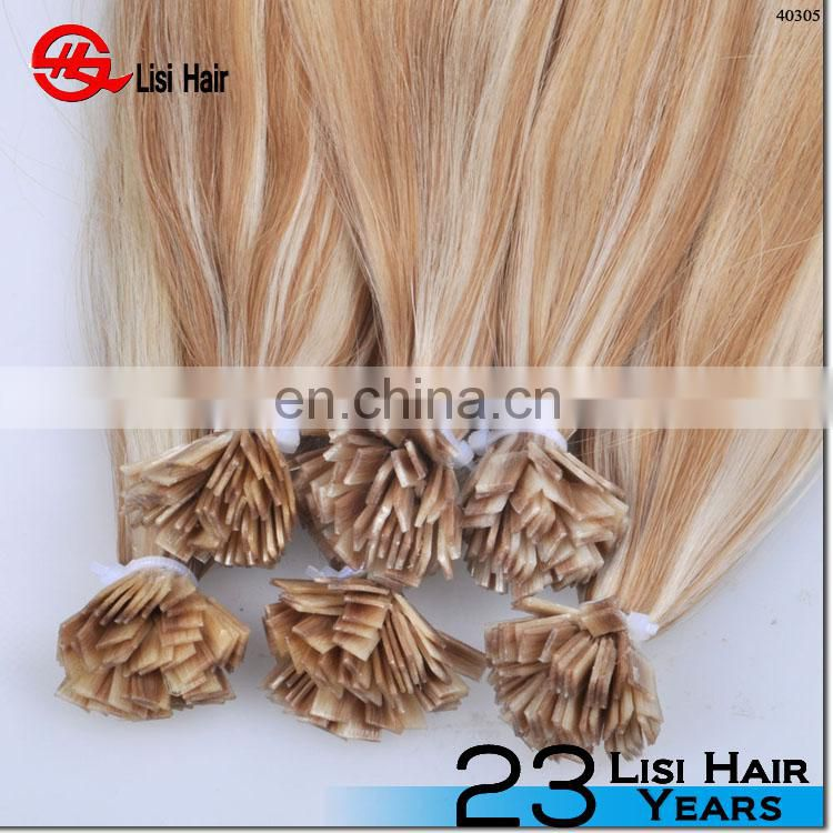 European High End Double Drawn Full Cuticle Virgin Remy Italian Keratin flat tip hair extension