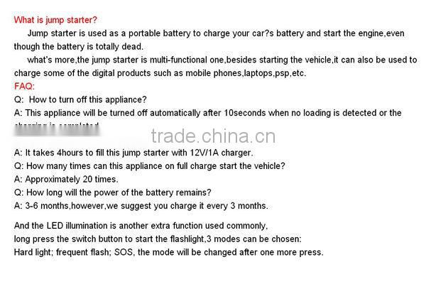 Auto 12V 8000mAh Multi-Function Jump Starter Battery Automobile Car Emergency Power Supply For Tablet Cell Phone Camera