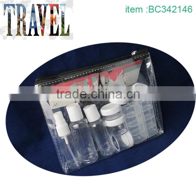 Cheap plastic travel bottle set travel bottle kit for women
