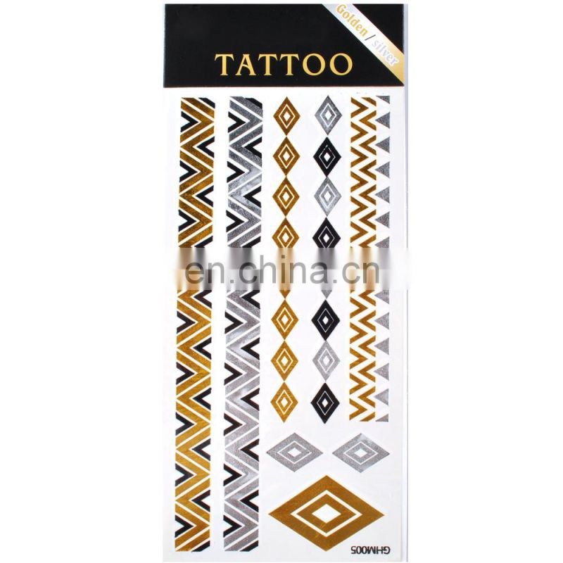 Body Tattoo sticker Custom metallic Temporary Tattoos