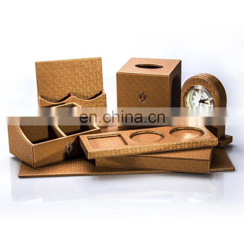 2017 Promotion Luxury MDF Desk Set Office Leather Stationery Set