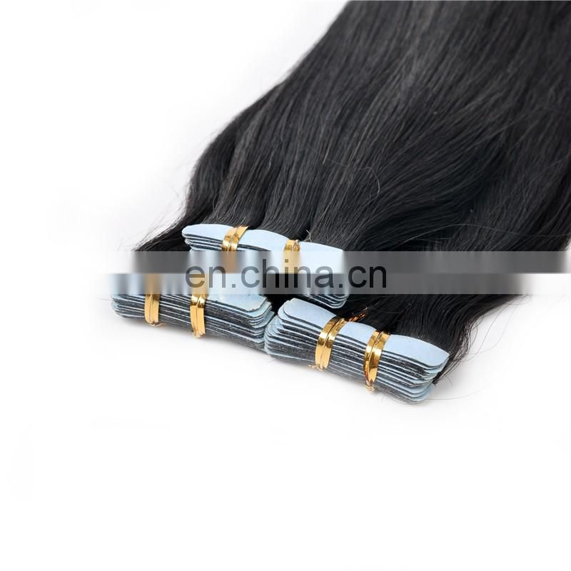 Cheap price tape hair extension black color raw indian hair skin weft hair products