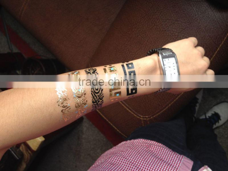 gold silver tattoo metallic foil temporary tattoo necklace bracelet jewelry tattoo sticker for hand and ankle