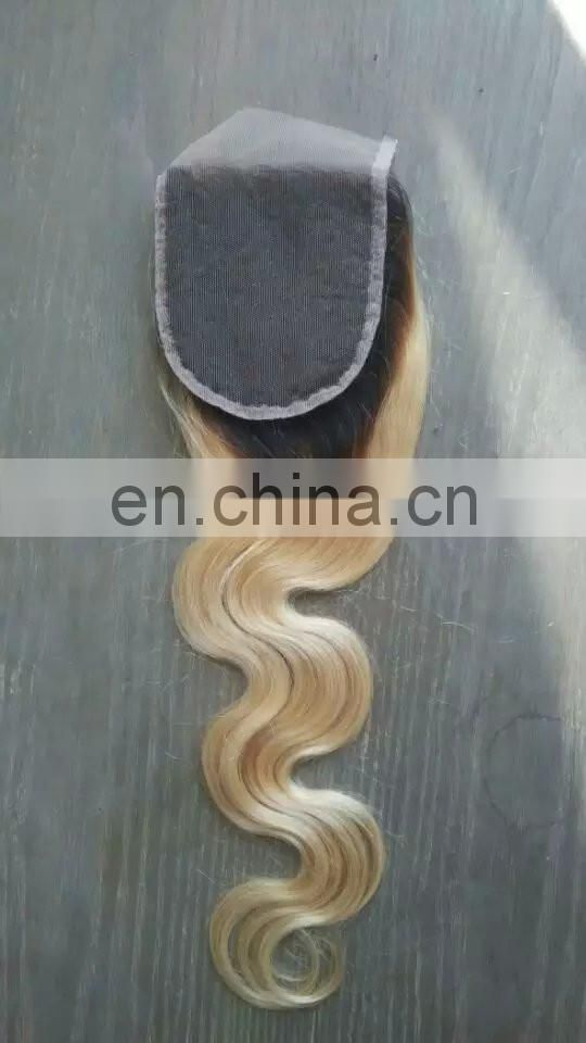 wholesale silky straight blond ombre color 1b-613 peruvian hair extensions with lace closure