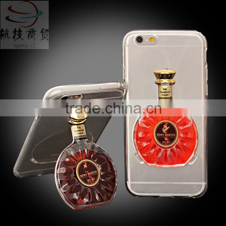 Christmas promotion gift for galaxy s6 clear cover with Wine bottle stand