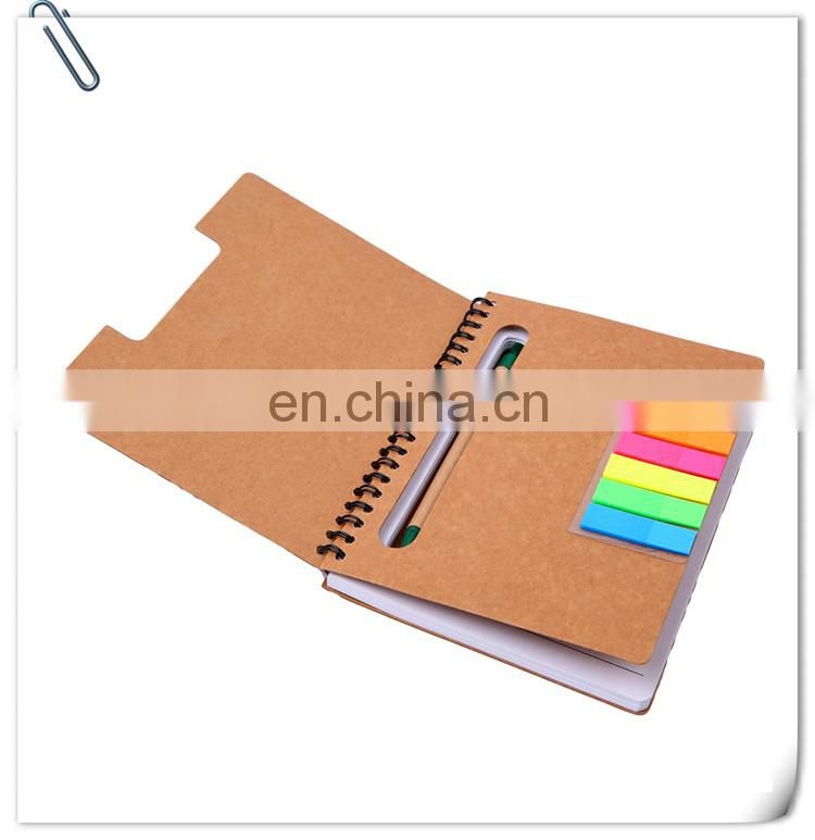 cheap promotion recycled carton paper cover Notepad with pens and self-adhensive papers