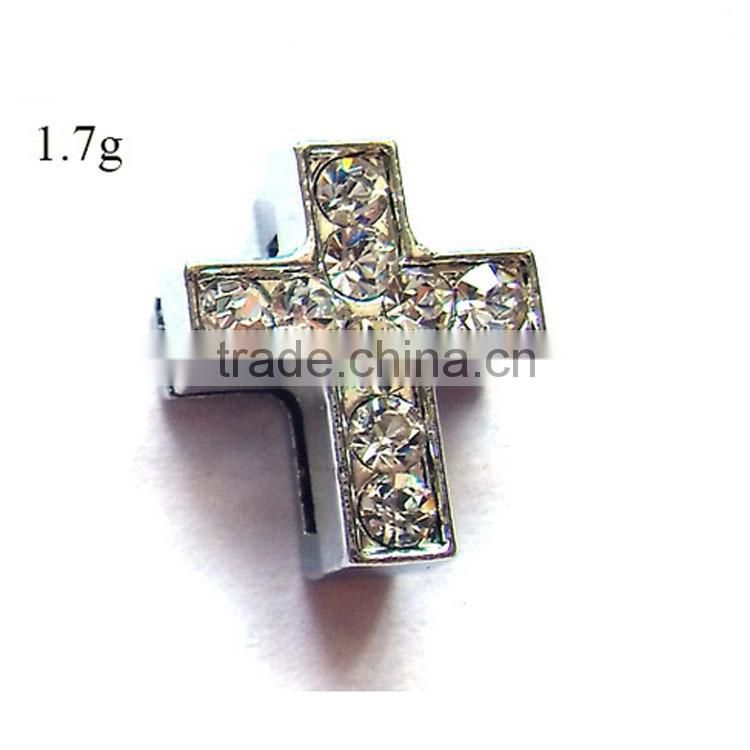 2015 DIY Rhinestone 10mm Cross Beads Slide Charms For Bracelet Faith Jewelry