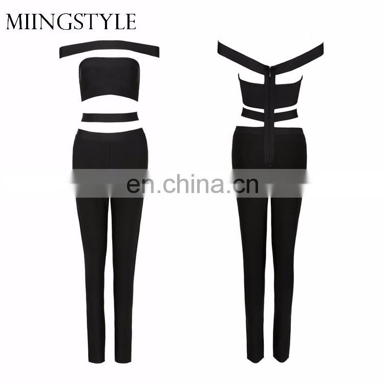 2017 oem one piece bodycon sexy long bandage women black jumpsuit for wholesale
