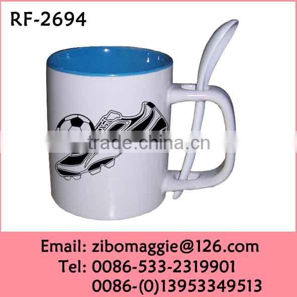 U Shape Ceramic Cup with Spoon for Promotional Grace Tea Ware