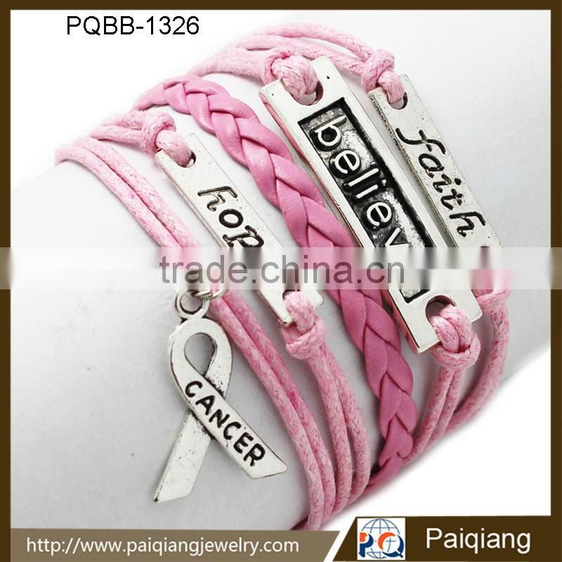 Newest design fashion vintage pink leather initial faith believe hope religious handmade bracelet Image