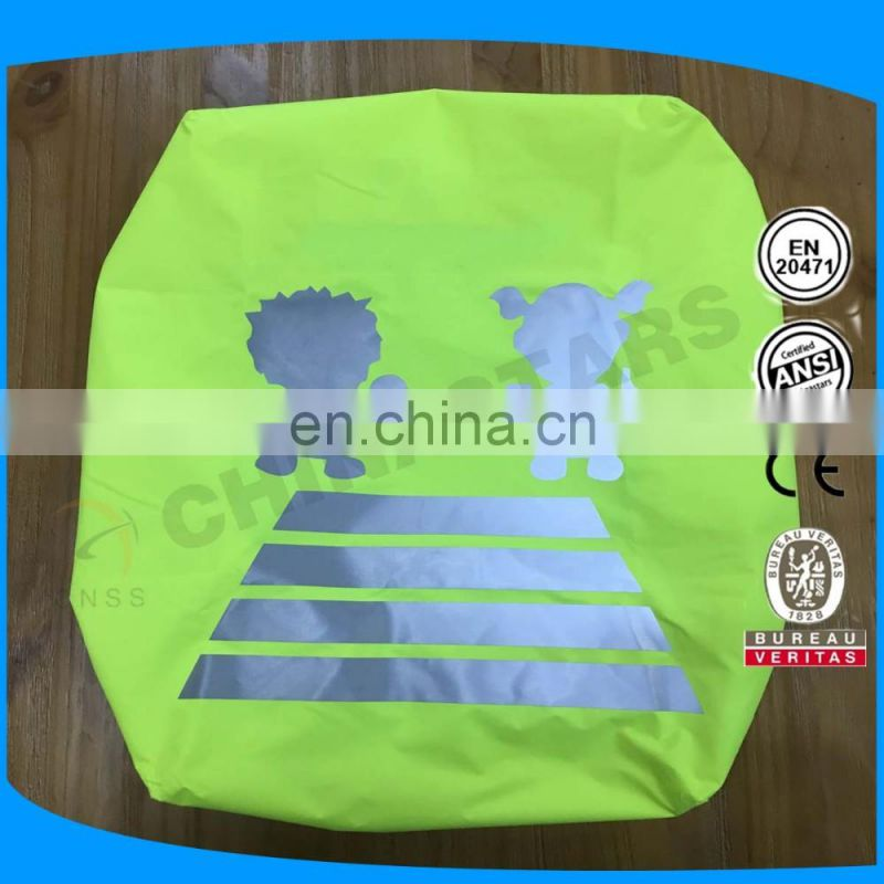 flourescent yellow reflective backpack cover with customized reflective logos