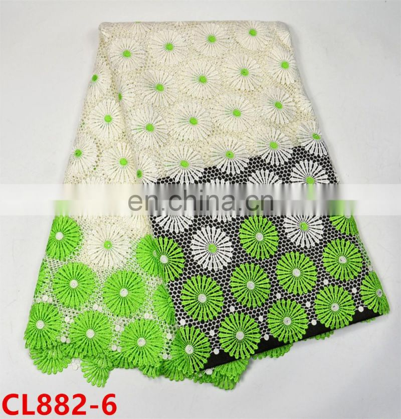 New arrival embroidery guipure lace fabric 2017 cord lace with stones CL882