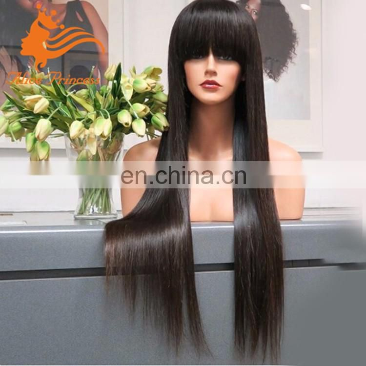 Wholesale virgin indian brazilian 1B silk straight 100 percent human hair full lace wig