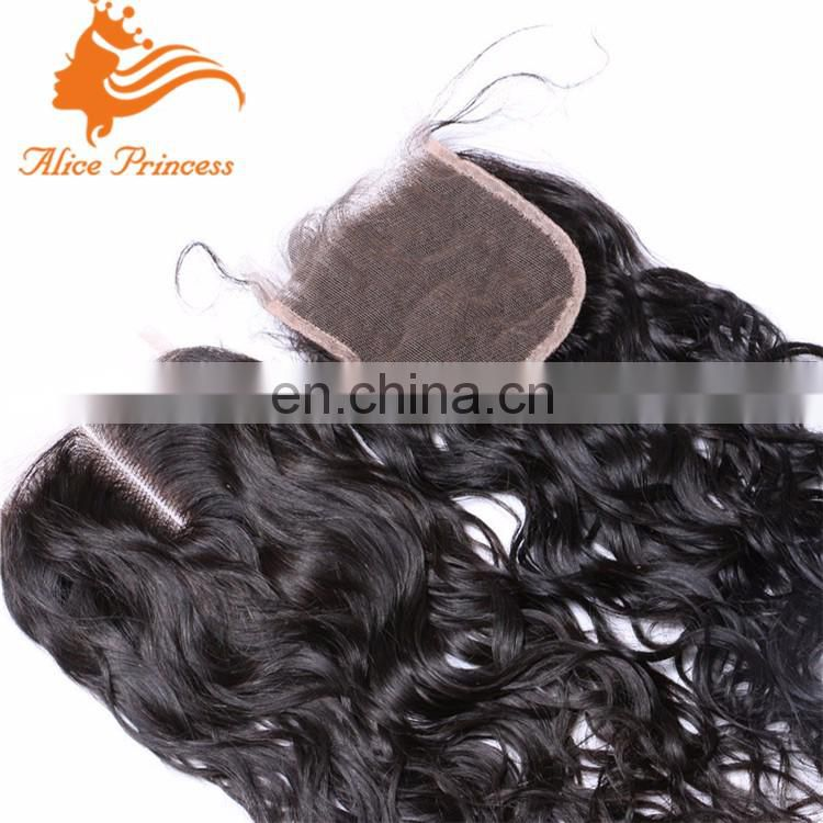 4X4 Brazilian Top Water Wave Closure 3 Way Part Human Hair Closure 7A Mink Brazilian Lace Closure Wet and Wavy Bleached Knots
