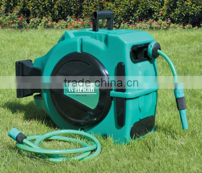 (73647) plastic industrial rewindable automatic garden hose reel trolley