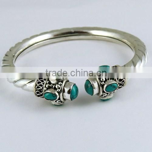 Stylish Coral & Turquoise 925 Sterling Silver Bangle, Indian Silver Jewelry, Handmade Silver Jewellery
