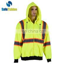 OEM service cheap reflective long sleeve high visibility sweatshirt
