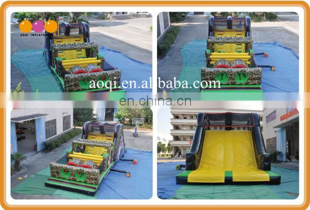 camouflage inflatable obstacle barrier tunnel course for student summer camp