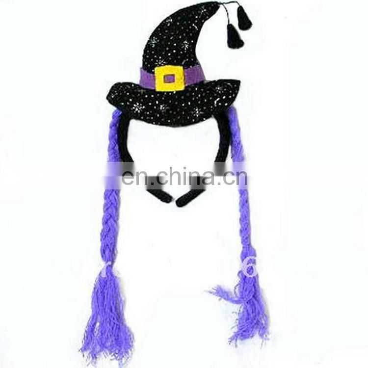 Witch hats decoration party supplies headdress with hair for halloween