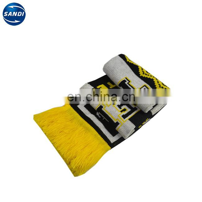 Promotional custom sports knitted soccer scarf