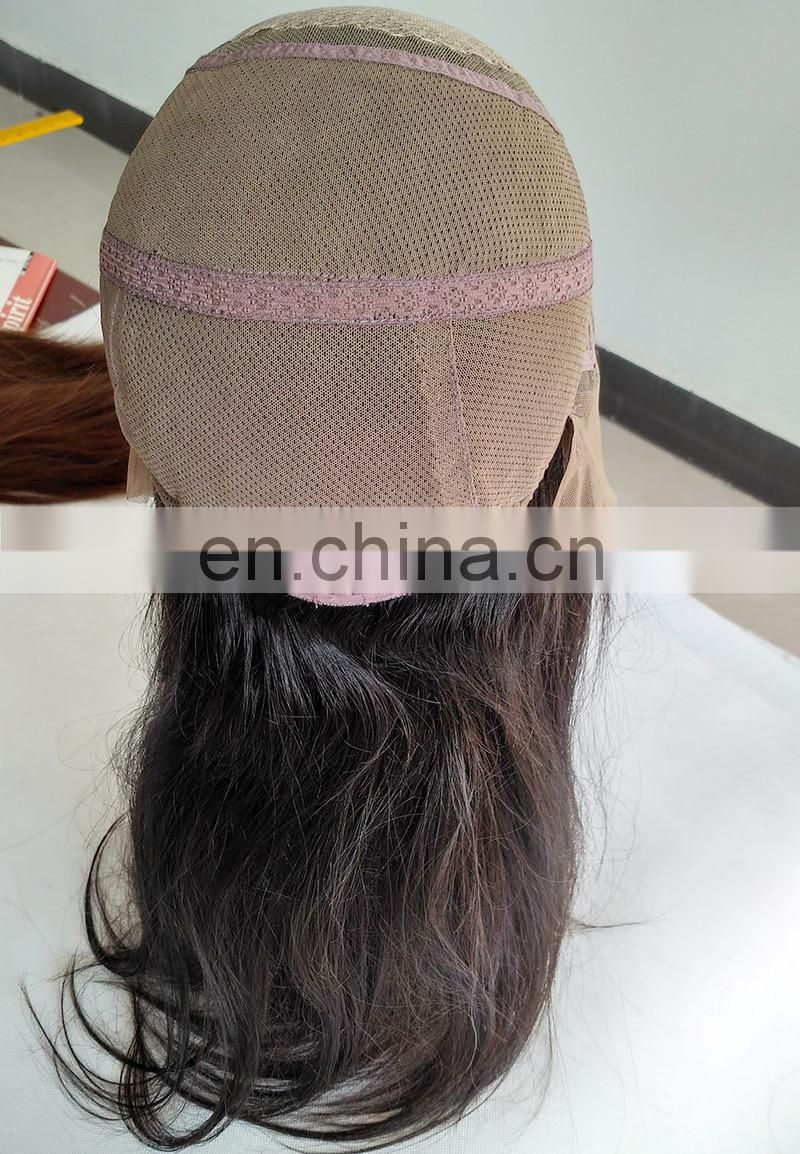 100% Full handtied high quality slik top Full lace human hair wigs
