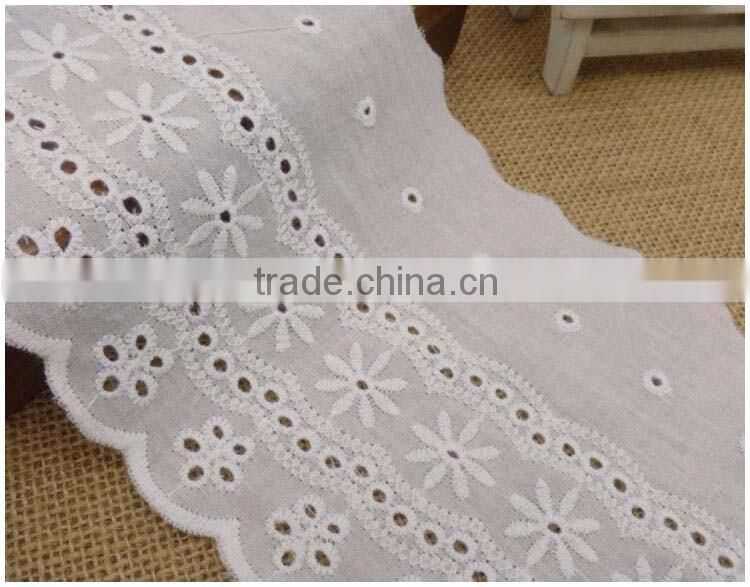 "5.1"" Cotton Lace Fabric 12.5cm Bleach White 100% Cotton Embroidery Laces with Flower Pattern Applique Organic Cotton Lace Fabric"