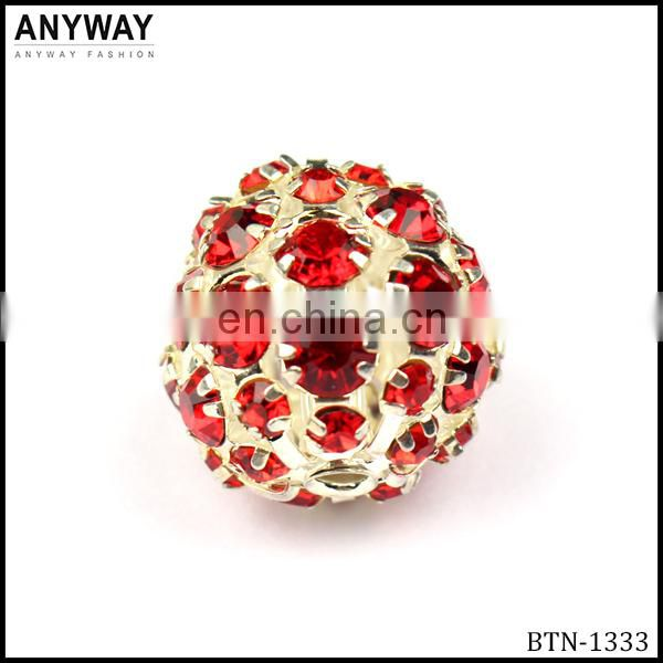 Luxury design bling red acrylic rhinestone bead with claw button for fashion lady decoration