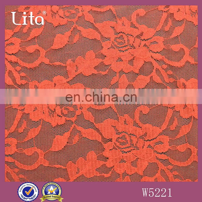 100% nylon floral lace fabric clothing material