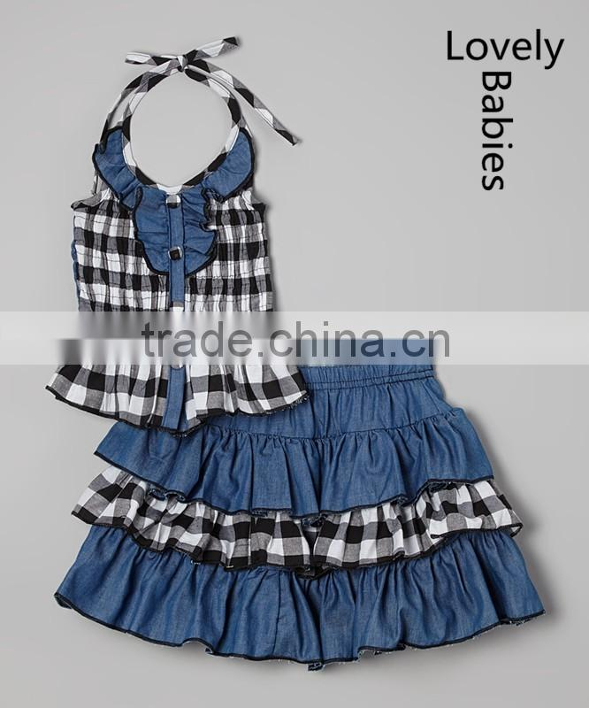 Wholesale childrens clothing 2016 girls denim halter top & ruffle skirt