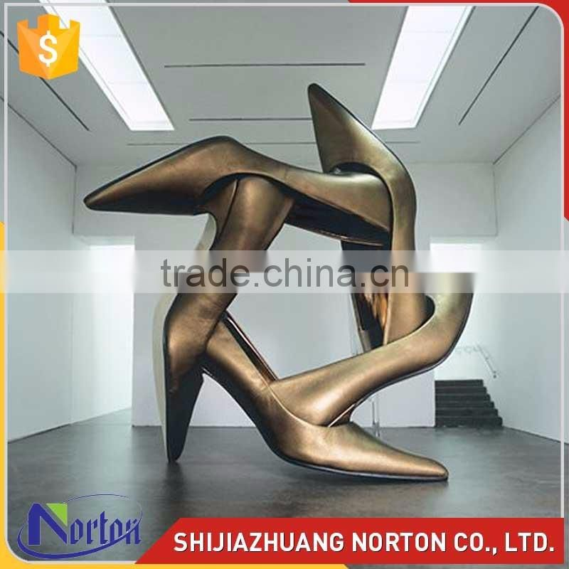 golden stainless steel high heels shoes sculpture for decor NTS-613X