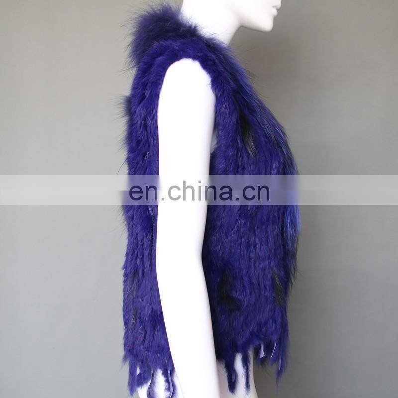 Factory supply high quality rabbit knitting fur vest
