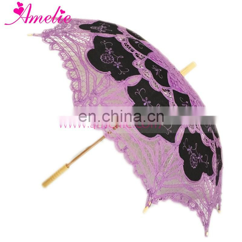 Black Fabric with Purple Lace Holiday Prop Party Garden Umbrella by Amelie