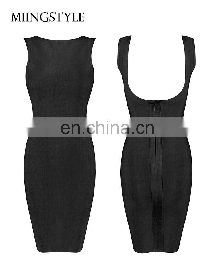 New Bodycon Sexy Club Party Dresses Blackless Western Elegant Bandage Dress