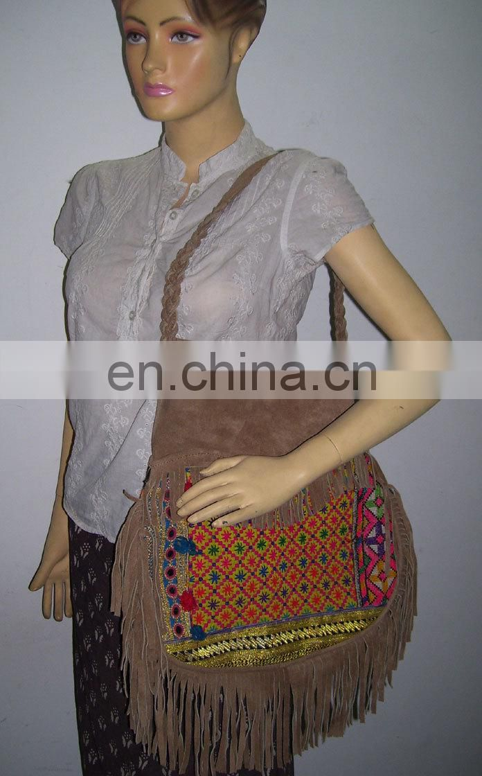 POT SHAPE BANJARA SHOULDER BAG WITH SUEDE FRINGE